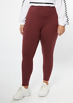 Plus Burgundy Super Soft Cell Phone Pocket Leggings