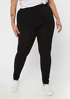 Plus Black Tummy Control High Waisted Leggings