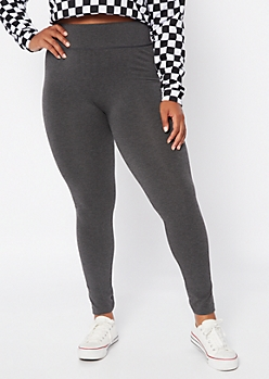 Plus Gray Tummy Control High Waisted Leggings