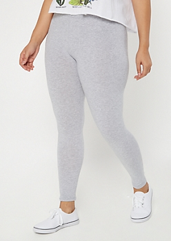 Plus Heather Gray Mid Rise Favorite Leggings