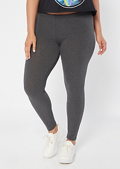 Plus Gray Mid Rise Favorite Leggings