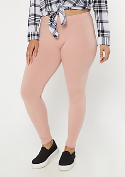 Plus Pink Mid Rise Favorite Leggings