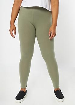 Plus Olive Mid Rise Favorite Leggings
