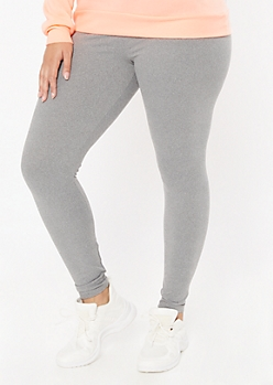 Plus Gray High Waisted Super Soft Stretch Leggings
