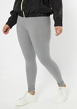 Plus Gray Cell Phone Pocket Super Soft Leggings
