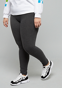 Plus Gray Seamless Mid Rise Leggings