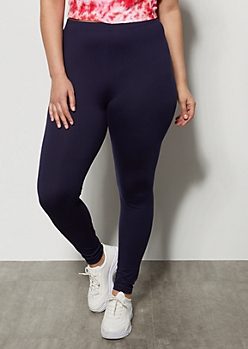 Plus Navy High Waisted Essential Super Soft Leggings