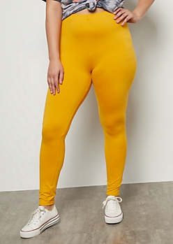 Plus Mustard High Waisted Essential Super Soft Leggings