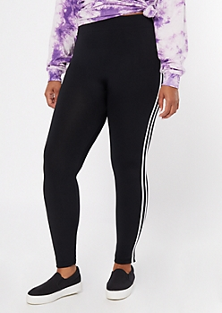 Plus Black Side Striped Fleece Leggings