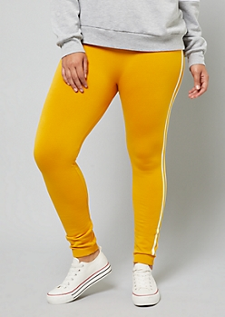 Plus Dark  Yellow Side Striped High Waisted Fleece Lined Leggings