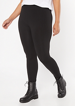 Plus Black Seamless Fleece Lined Leggings
