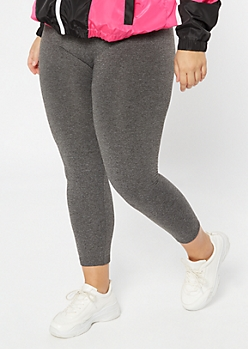 Plus Gray Marled Seamless Fleece Lined Leggings