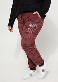 Plus Burgundy More Self Love Hacci Knit Joggers