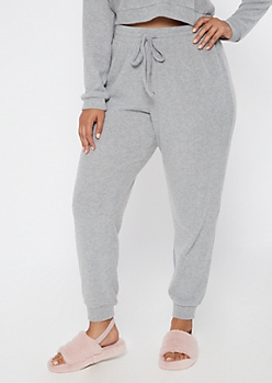 Plus Heather Gray Super Soft Ribbed Hacci Joggers