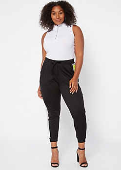 Plus Black Colorblock Good Vibes Joggers