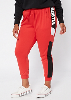 Plus Red Colorblock Hustle Joggers