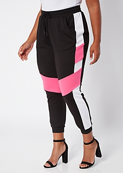 Plus Neon Fuchsia Colorblock Joggers