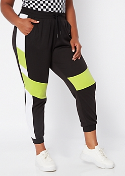 Plus Yellow Colorblock Joggers