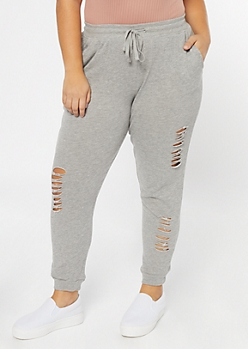 Plus Gray Distressed Drawstring Joggers