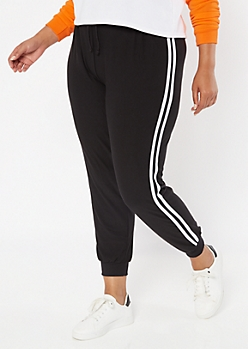 Black Side Striped High Waisted Soft Joggers