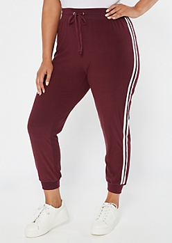 Burgundy Side Striped High Waisted Soft Joggers
