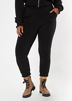 Plus Black Smocked Paperbag Waist Cozy Joggers