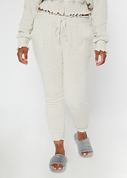 Plus Heather Gray Smocked Paperbag Waist Cozy Joggers