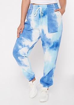 Plus Blue Tie Dye Print Joggers
