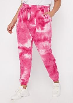 Plus Pink Tie Dye Print Joggers