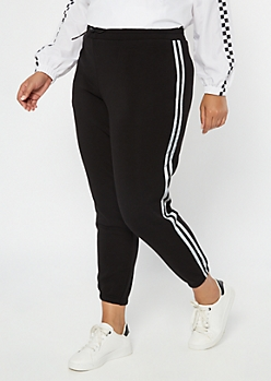 Plus Black Reflective Side Striped Fleece Joggers