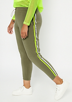 Plus Olive Reflective Side Striped Fleece Joggers