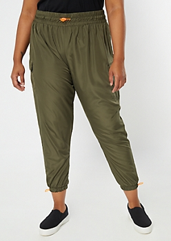 Plus Black Cargo Bungee Joggers