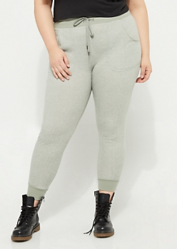 Plus Heather Olive Marled Knit Essential Joggers
