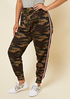 Plus Camo Print Athletic Tape Striped Joggers