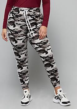 Plus Black Camo Print Side Striped High Waisted Joggers