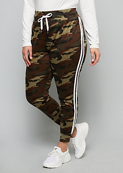 Plus Green Camo Print Side Striped High Waisted Joggers