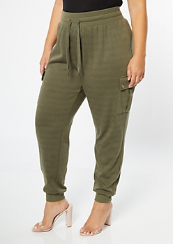 Plus Olive High Waisted Cargo Joggers