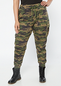 Plus Camo Print High Waisted Cargo Joggers