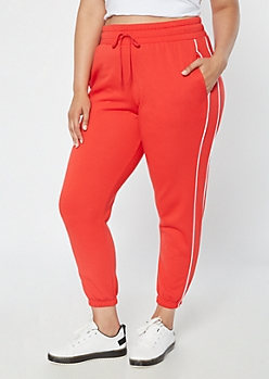 Plus Red High Waisted Joggers