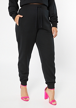 Plus Black High Waisted Drawstring Joggers