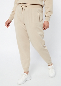 Plus Sand High Waisted Drawstring Joggers