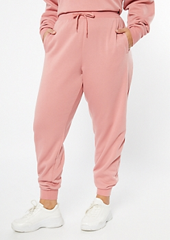 Plus Pink High Waisted Drawstring Joggers