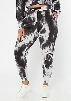 Plus Black Tie Dye High Waisted Drawstring Joggers