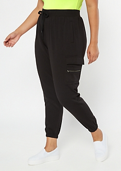 Plus Black Cargo Pocket Cozy Boyfriend Joggers