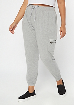 Plus Heather Gray Cargo Pocket Cozy Boyfriend Joggers