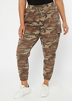 Plus Camo Print Cargo Pocket Cozy Boyfriend Joggers