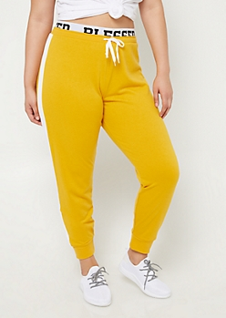 Plus Dark Yellow Blessed Joggers