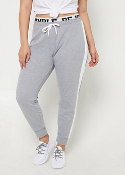 Plus Heather Grey Be Humble Joggers