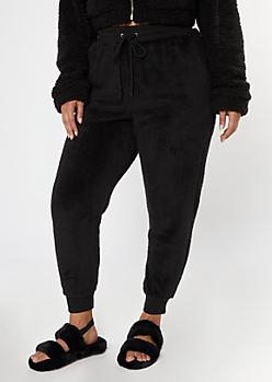 Plus Black Sherpa High Waisted Joggers