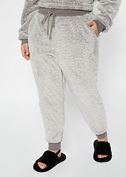 Plus Gray Sherpa High Waisted Joggers